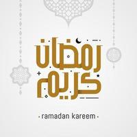 Ilustración de vector de tarjeta de felicitación de caligrafía árabe Ramadán Kareem