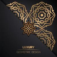 ornamental mandala design background in gold color vector