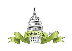 Washington DC Capitol landmark landscape USA. Travel famous city vector
