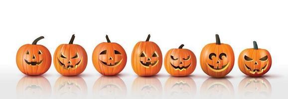 Set of realistic Halloween orange pumpkins vector
