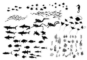 Set of ocean wildlife, plants, and divers silhouettes vector