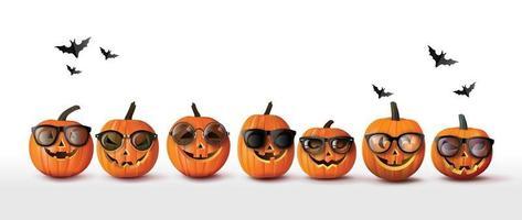 Set of realistic Halloween orange pumpkins in sunglasses vector