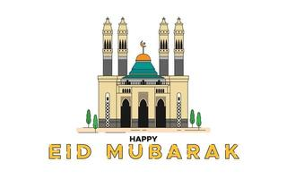Mosque building with Eid Mubarak greeting text vector illustration