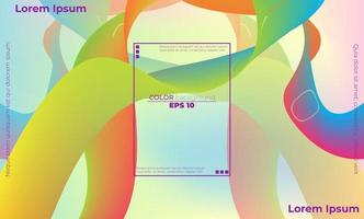 Abstract fluid color pattern of neon color liquid gradient background vector