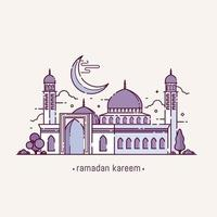 ramadan kareem con objeto de mezquita de estilo de arte lineal vector