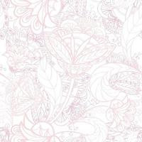 Floral seamless line pattern. Flourish tiled oriental ethnic background. Arabic ornament with fantastic flowers and leaves. Drawn line motives of the paintings of eastern Indian fabric patterns. vector