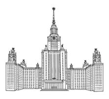 Moscow State University, Moscow, Russia. Famous russian skyscraper building isolated. Travel landmark sign vector