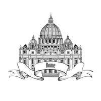 Rome city travel landmark Saint Peter Cathedral vector