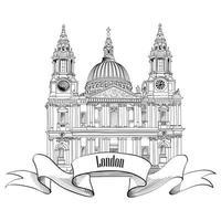London city famous landmark Saint Paul Cathedral. vector