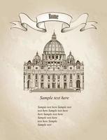 Rome city travel landmark Saint Peter Cathedral. vector