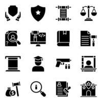 paquete de iconos sólidos de ley vector
