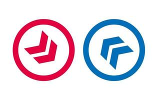 Arrow Icon Line Design Red And Blue Design vector