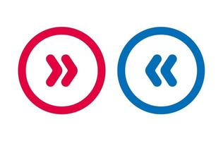 Arrow Design Icon Line BLue And Red vector