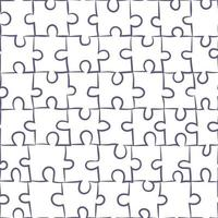 Seamless pattern with isolated jigsaw puzzle. Vector illustration about matching game pieces. Repetitive simple background.
