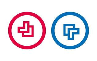 Arrow Line Red And Blue Icon Design vector