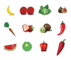 set of icons of fresh fruits and vegetables vector illustration design