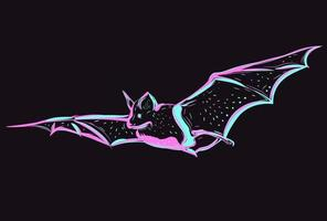 Linear neon art with a flying animal. Abstract linear drawing of a glowing night creature. Pink and blue bat. vector