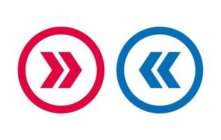Design Left Right Arrow Icon BLue And Red vector