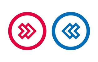 Modern Arrow Icon BLue And Red Line Design vector