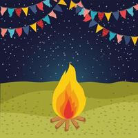 field with campfire and garlands night scene vector