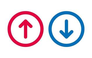 Design Up Down Arrow Icon BLue And Red vector