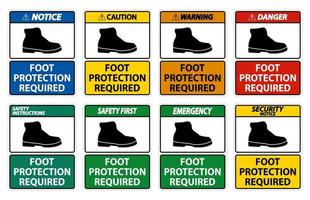 Foot Protection Required Wall Symbol Sign set vector