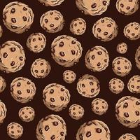 Seamless pattern of chocolate chip cookies. Repetitive background of sweet round biscuits with brown cream on top. vector