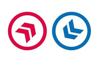 Arrow Line Icon Design Red And Blue Design vector