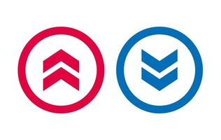Design BLue And Red Up Down Arrow Icon vector