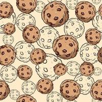 Seamless pattern with chocolate chip cookies. Repetitive background with breakfast biscuits and delicious cupcakes.