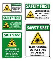 veiligheid eerste laser straling teken set vector