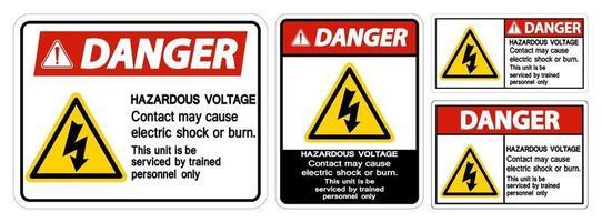 Danger Hazardous Voltage sign set vector