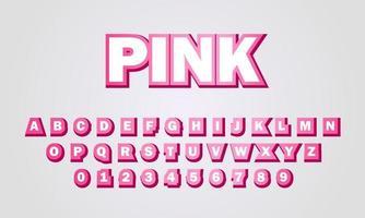 efecto de texto fuente rosa alfabeto vector