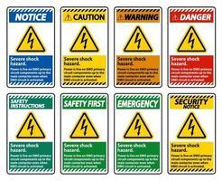 Severe shock hazard sign set on white background vector