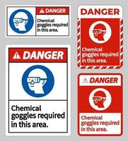 Danger Sign Chemical Goggles Required In This Area sign set vector