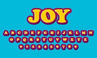 text effect joy font alphabet vector