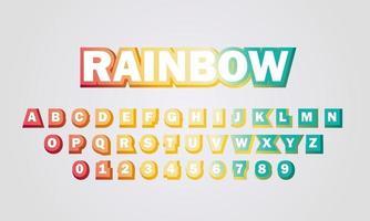 text effect rainbow font alphabet vector