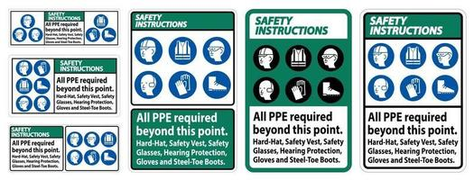 Safety Instructions PPE Required Beyond This Point sign set vector
