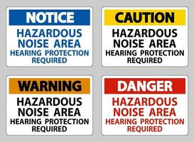 Hazardous Noise Area Hearing Protection Required sign set vector