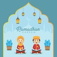 Ramadhan Greeting Background with Characters