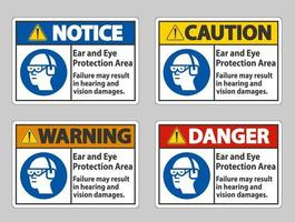Ear And Eye Protection Area sign set vector