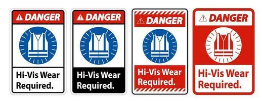 Danger Sign Hi-Vis Wear Required on white background set vector