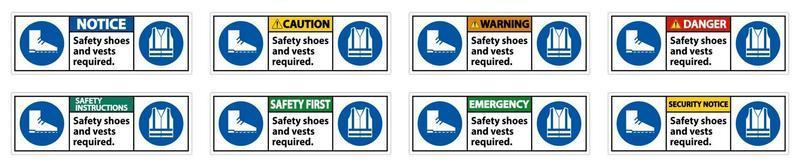Safety Shoes And Vest Required With PPE Symbols sign set vector