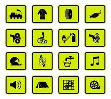 Warning Hazard Symbols labels Sign set vector