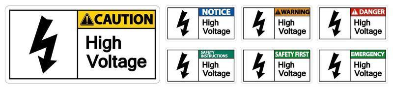 High voltage Sign Isolate On White Background set vector