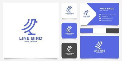 Logotipo de pájaro de arte de línea geométrica simple y minimalista con plantilla de tarjeta de visita vector