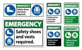 Emergency Sign Safety Shoes And Vest Required With PPE Symbols sign set vector