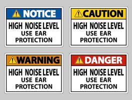 uso de alto nivel de ruido conjunto de letreros de protección auditiva vector