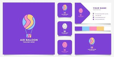 Colorful Air Balloon Logo with Business Card Template vector