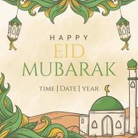 Eid Mubarak greeting beautiful lettering on the hand drawn islamic ornament background vector